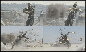 Choreographed droid destruction on Elysium